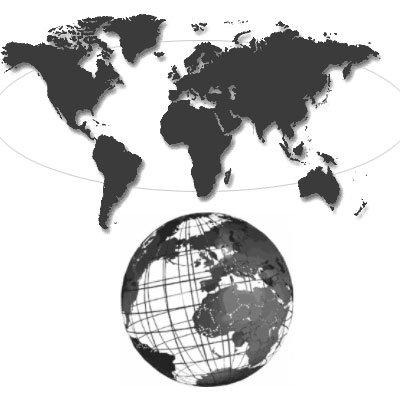 Кисти - карта мира и глобус