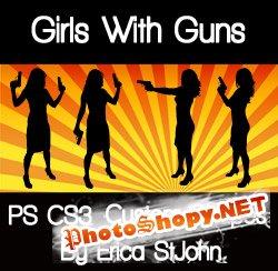 Фигуры для фотошоп - Девушки с оружием