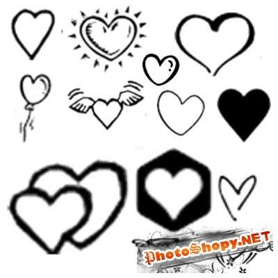 Кисти для фотошоп сердечки 2