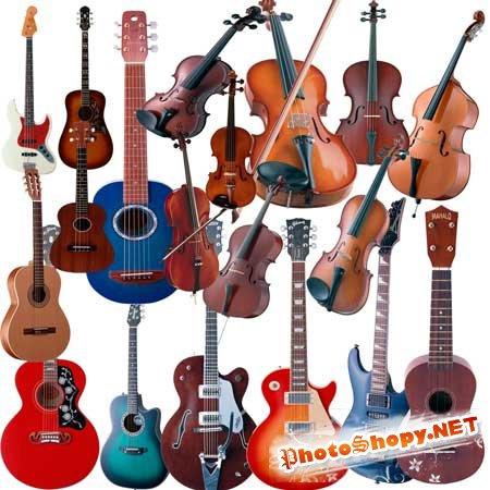 PSD Исходник для фотошоп - Гитары и скрипки