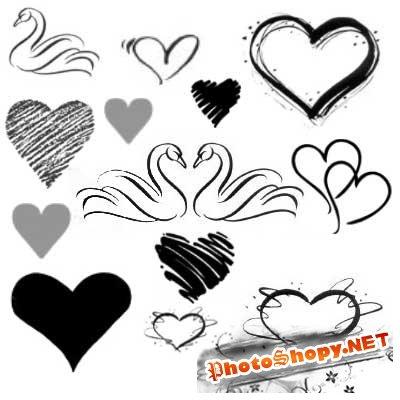Кисти для фотошоп сердечки и лебеди