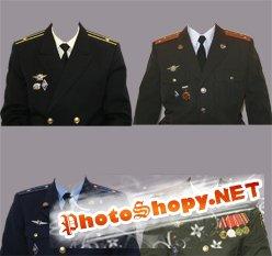 PSD Исходник для фотошоп - Военная униформа