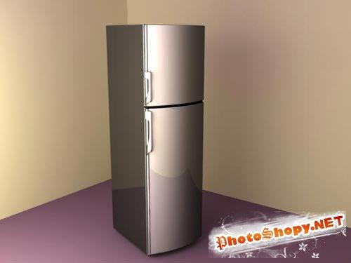 3D модели - Модель двухкамерного холодильника