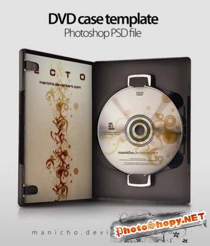 PSD Исходник для фотошоп - Открытый DVD кейс