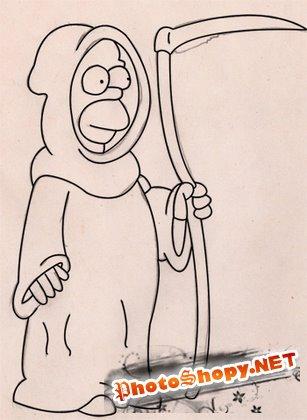 Рисование в фотошоп - Как нарисовать Гомера