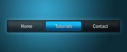 Уроки Photoshop - Черно-голубая панель навигации