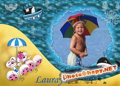Рамка для фотошоп – Лежу на пляжу