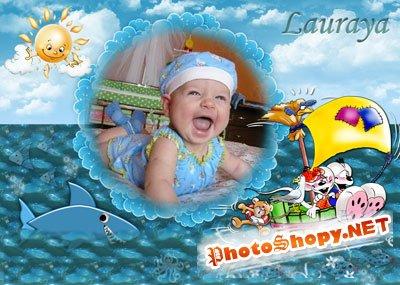 Рамка для фотошоп – Морская погоня
