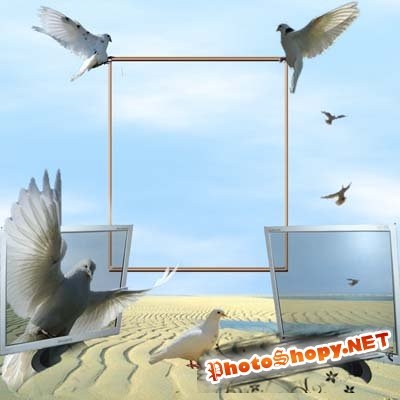Рамка для фото - Компьютеры и голуби