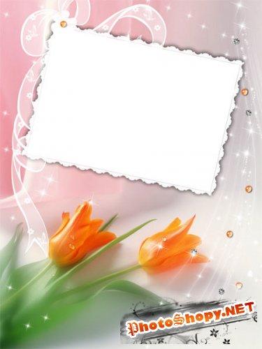 Рамка для фото - Свадебная с тюльпанами