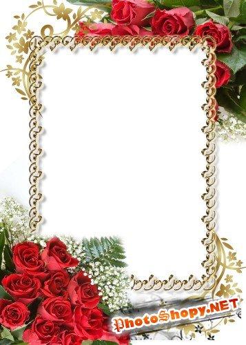Рамка для фотошоп – Торжественная!  Красные розы