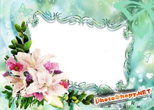 Рамка для фотошоп – Лилии и бабочки