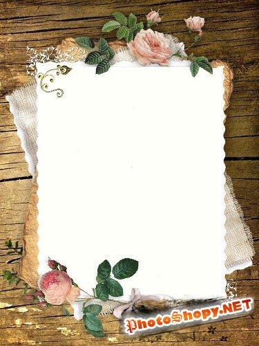 Рамка для фотошоп – Винтаж с розами