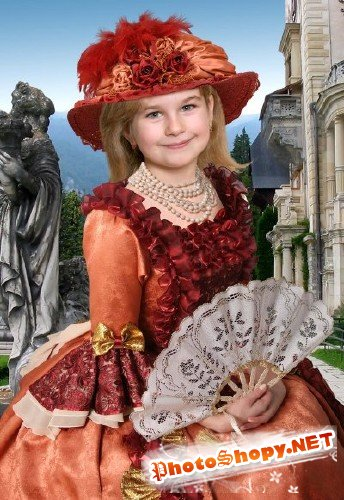 Шаблон для фотошоп – Девочка с веером