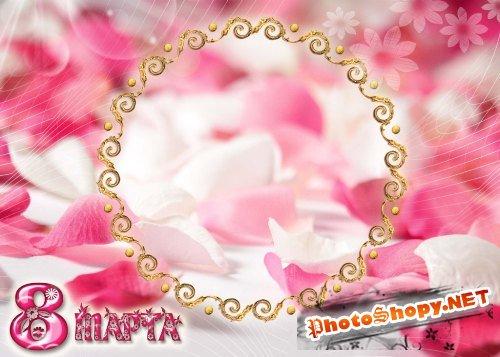 Рамка для фотошоп – В лепестках роз