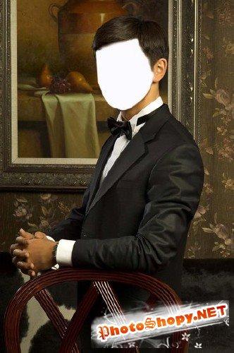 Шаблон для фотошоп – мужской портрет в интерьере