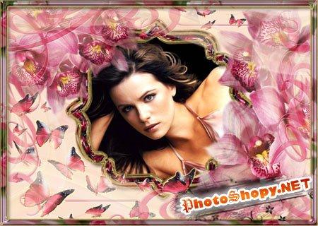 Фоторамка розовая с бабочками