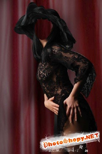 Шаблон для фотошоп – Актриса в черном