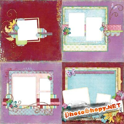 "4 scrap-pages ""Sing a Rainbow"""