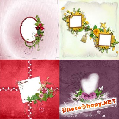 7 Flower Scrap-pages for decoration of photos