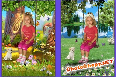 Шаблон для Photoshop- Качели
