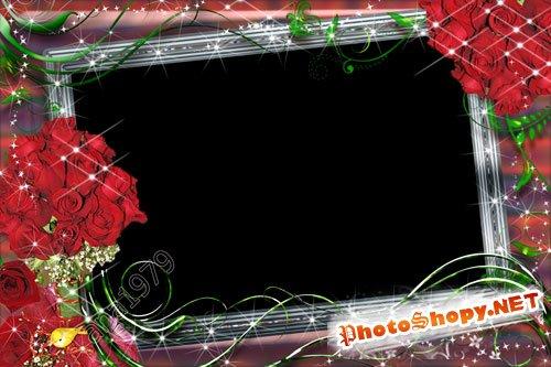 Рамка для фотошоп - Очаровательные розы