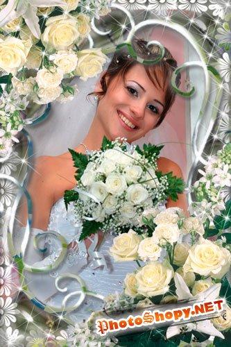 Рамка для Photoshop - Свадебные цветы