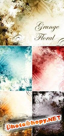 6 Grunge Floral Backgrounds