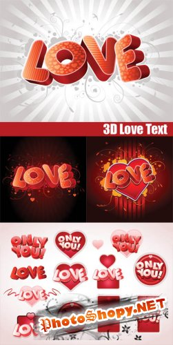 3D Love Text - Stock Vectors