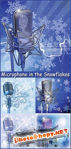 Microphone in the Snowflakes - Stock Vectors