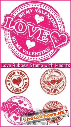 Love Rubber Stamp with Hearts - Stock Vectors