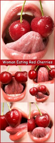 Woman Eating Red Cherries - Stock Photos