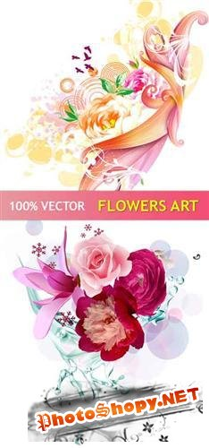 Stock vector - Art Flowers Design