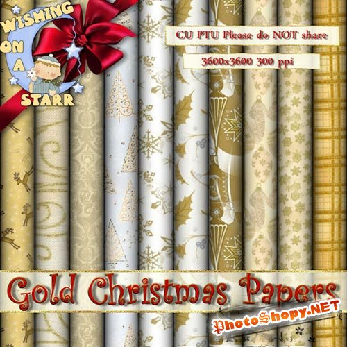 Scrpa-kit - Gold Christmas papers