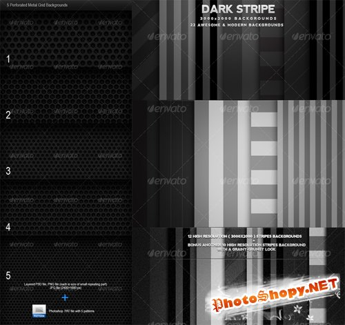 GraphicRiver Dark Stripes Backgrounds and 5 Perforated Metal Grid Backgrounds