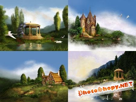 Beautiful houses and gazebos Backgrounds
