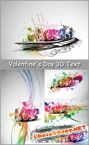 Abstract Valentine's Day 3D Text - Stock Vectors
