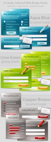 Colored Web Boxes - PSD Templates