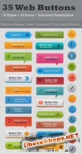 GraphicRiver 35 Resizable Web Buttons