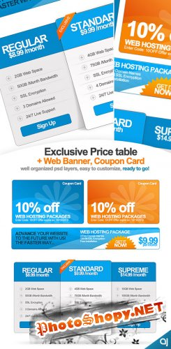 GraphicRiver Exclusive Pricing Table + Web Banner & Coupon Card