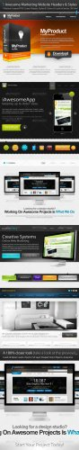 5 Awesome Marketing Website Headers & Styles - GraphicRiver