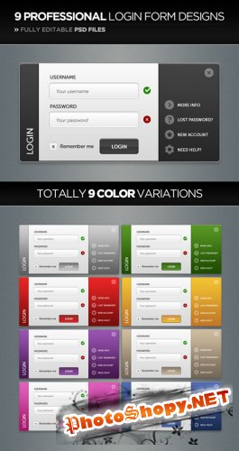 Professional Login Form Design in 9 Color-Styles - GraphicRiver