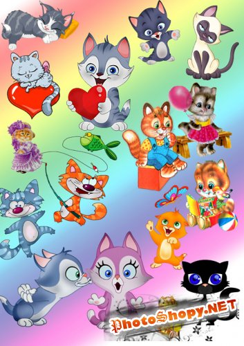 PSD/PNG Cliparts - Animated Kittens
