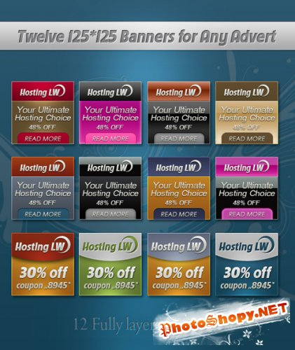 Twelve 125*125 Banner Templates - GraphicRiver