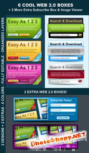 Sleek & Cool Web Boxes + 2 More Extras! - GraphicRiver