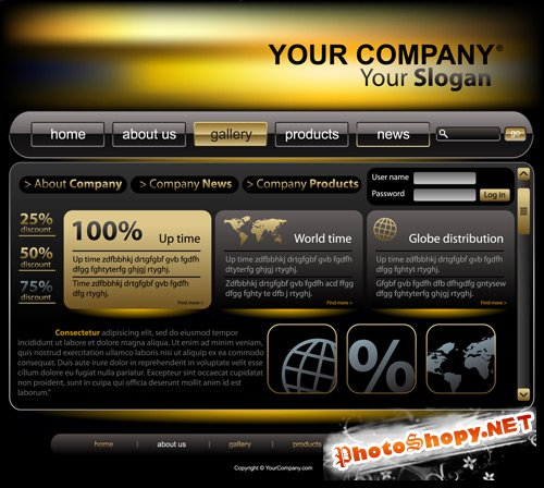 Shutterstock - Company Web Site Design Vector Template-3, EPS