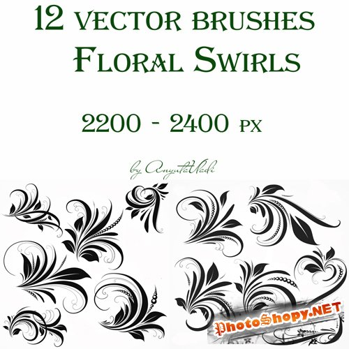 vector brushes Floral Swirls