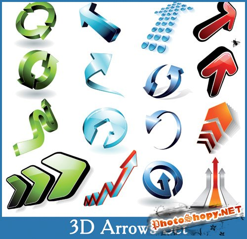 3D Arrows Set - Stock Vectors