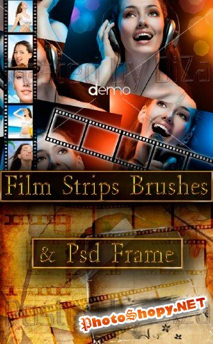 Film Strips Brushes & Psd Frame