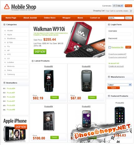 VirtueMart Template (Mobile Shop) + PSD